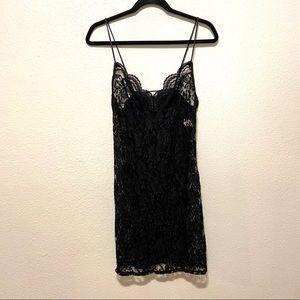 Vintage Delicates Black Lace Negligee Lingerie LG